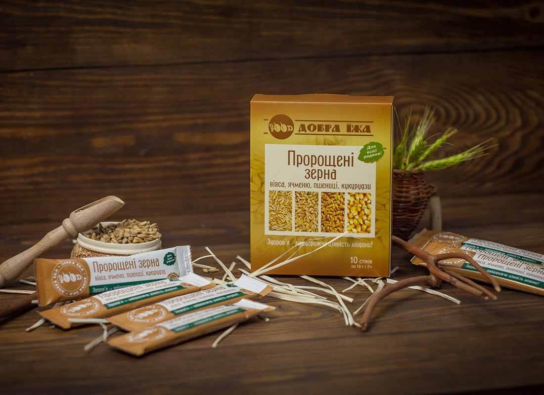 Пророщенные зерна коробка со стиками